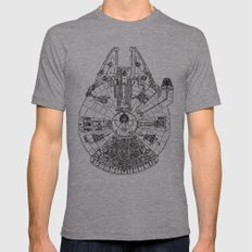 Space Ship Mens Fitted Tee Athletic Grey SMALL