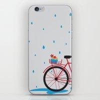 Bicycle & rain iPhone & iPod Skin