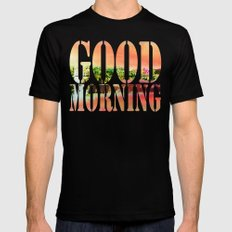 Good Morning SMALL Mens Fitted Tee Black