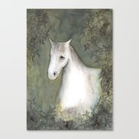 White Horse And Ivy Canvas Print