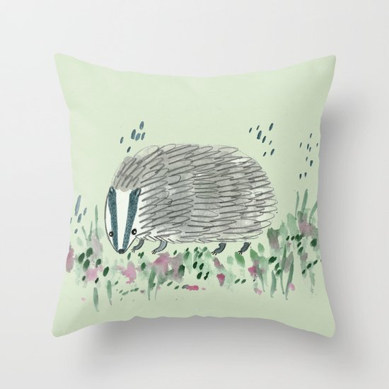 Badger in Grass Throw Pillow