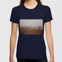 Foggy Trail To The Trees Womens Fitted Tee Navy SMALL