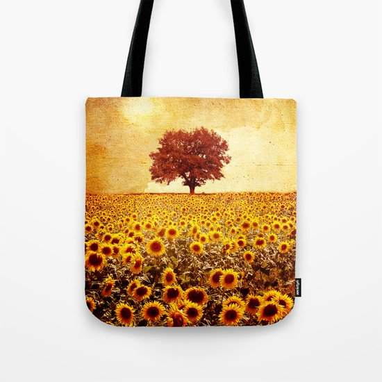 lone tree & sunflowers field Tote Bag