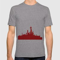 Seattle Skyline silhouette Mens Fitted Tee Athletic Grey SMALL