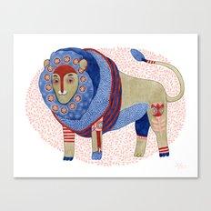 Blue Floral Lion Canvas Print