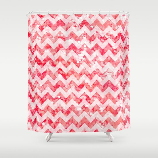 ... Chevron Shower Curtain By DaniCheck Price And Reviews Pink ...