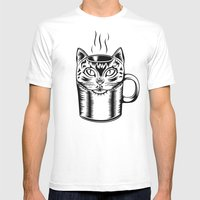 Coffee Cat Mens Fitted Tee White SMALL