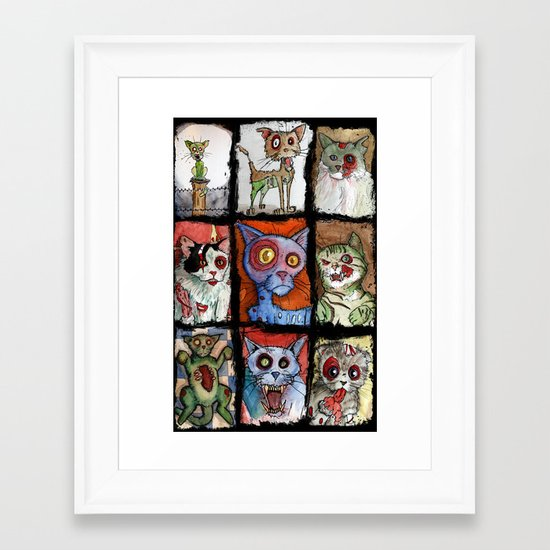 9 zombie cats Framed Art Print
