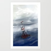 Ship In The Fog Art Print