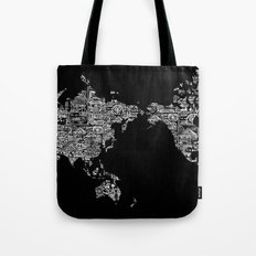 Passport Stamp Map Special Edition, Black and White Tote Bag
