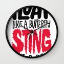 Muhammad Ali: Float Like a Butterfly Sting Like a Bee Wall Clock