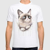 Grumpy Watercolor Cat Mens Fitted Tee Ash Grey SMALL