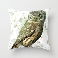 Olive Owl Throw Pillow