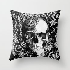 Rose Skull On Black Lace… Throw Pillow