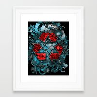 Recycle World - Blue Framed Art Print