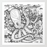 Octopus Attack Art Print