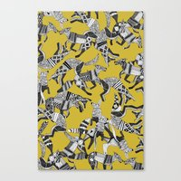 woodland fox party ochre yellow Canvas Print