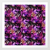 Palm Leaf Purple Pink Art Print