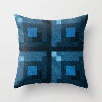 Blue Green Pixel Blocks Throw Pillow