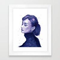 Audrey Hepburn Watercolor Portrait Framed Art Print