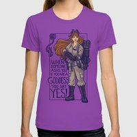 Ghostbuster Goddess Womens Fitted Tee Ultraviolet SMALL