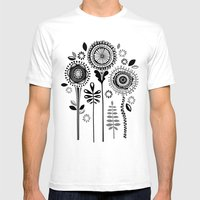 Folksy Flowerheads Mens Fitted Tee White SMALL