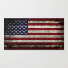 USA Flag In Super Dark G… Canvas Print