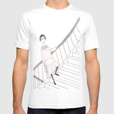 girl on a stair Mens Fitted Tee SMALL White