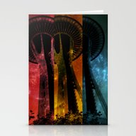 Colorful Space Needle Stationery Cards