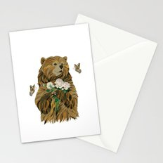 Bear with flowers and butterflies Stationery Cards