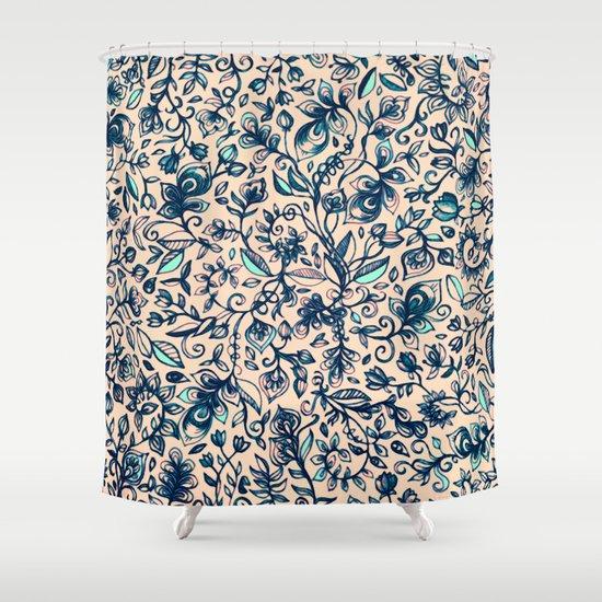 teal garden floral doodle pattern in cream navy blue