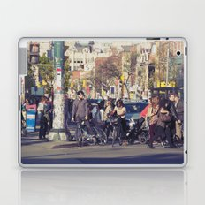 man in helmet stares wistfully across a busy intersection... Laptop & iPad Skin