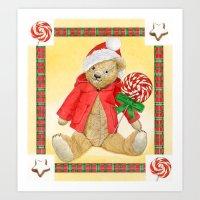 christmas_red_little_bear Art Print