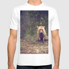 Mr Fox is staring at you SMALL Mens Fitted Tee White