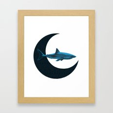 Shark Side of the Moon Framed Art Print