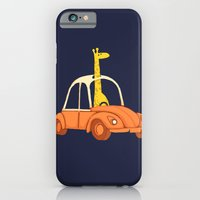iPhone & iPod Case featuring Giraffe in a car by Budi Kwan