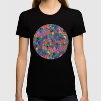 Popping Color Painted Fl… Womens Fitted Tee Black SMALL