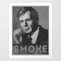 Smoke! Funny Obama Hope Parody (Smoking Man)  Art Print