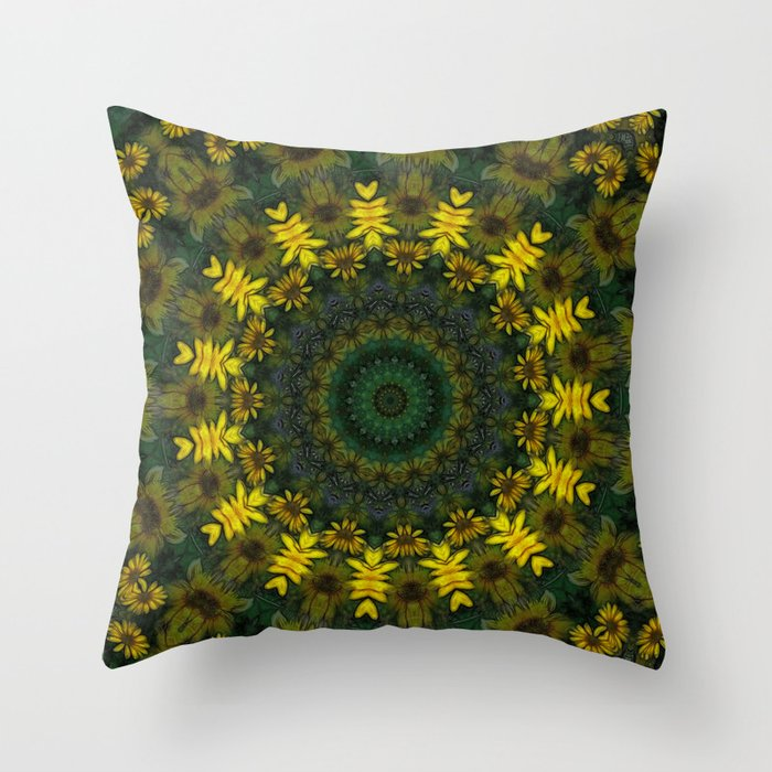 Large Yellow Throw Pillow : Large Yellow Wildflower Kaleidoscope Art 9 Throw Pillow by Christopher Johnson Society6