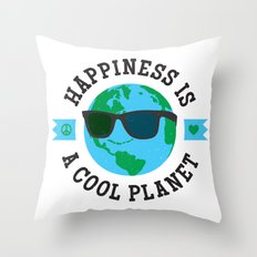 Happiness Is A Cool Planet Throw Pillow