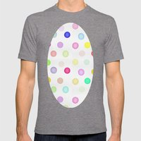 Watercolor Polka Dots Mens Fitted Tee Tri-Grey SMALL