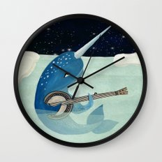 Narwhal's Aquarelle - Narwhal Plays Banjo Wall Clock