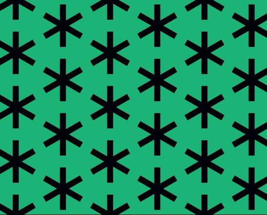 Vondel Black on Green Pattern Canvas Print