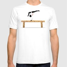 Balance Beam SMALL Mens Fitted Tee White