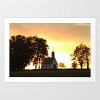 Sunset Church Art Print
