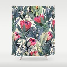 Painted Protea Pattern Shower Curtain