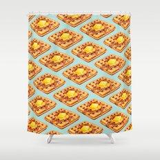 Waffle Pattern Shower Curtain