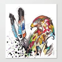 Hawk and Feathers. Canvas Print