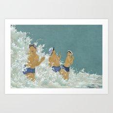 Three Ama Enveloped In A Crashing Wave Art Print