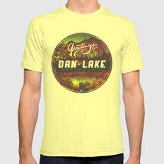 Greetings from Dan Lake CA Mens Fitted Tee Lemon SMALL